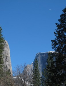Crescent Moon rising over Half Dome