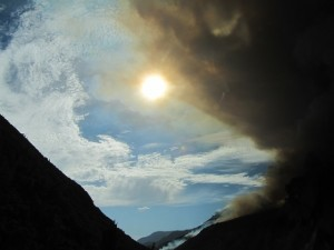 El Portal Fire with sun