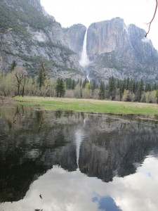Yosemite Falls with reflection