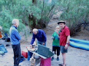 Ron, Ira, Sue, & Kelly Setting Up Camp #1