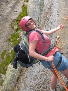 Lori Enjoying the End of First Rappel