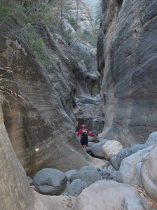 Lori Exiting the Slot Canyon