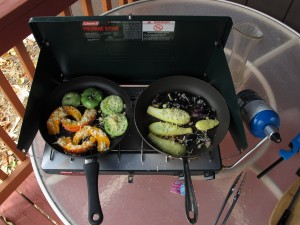 Camp Stove on Porch with fresh vegetables