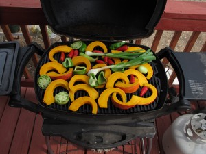 Grill on Porch with fresh vegetables