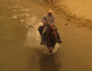Cowboy Riding in Merced River