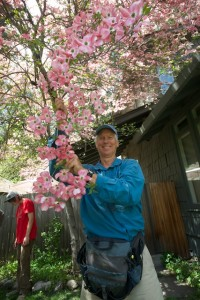 Guide Ken with Dogwood Blossoms