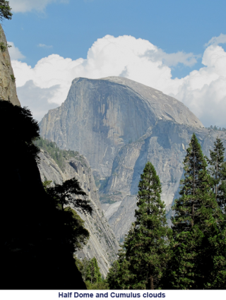 Half Dome and Cumulus Clouds